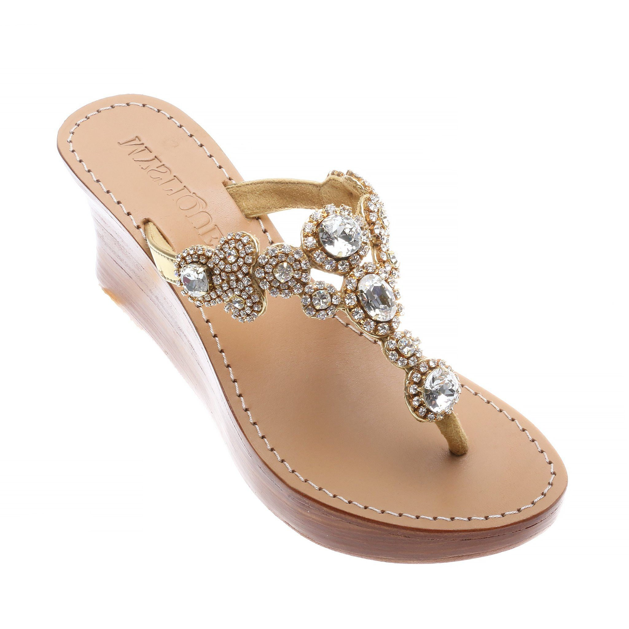 3eba8a511 Bellevue - Women s Gold Jeweled Wedge Sandals