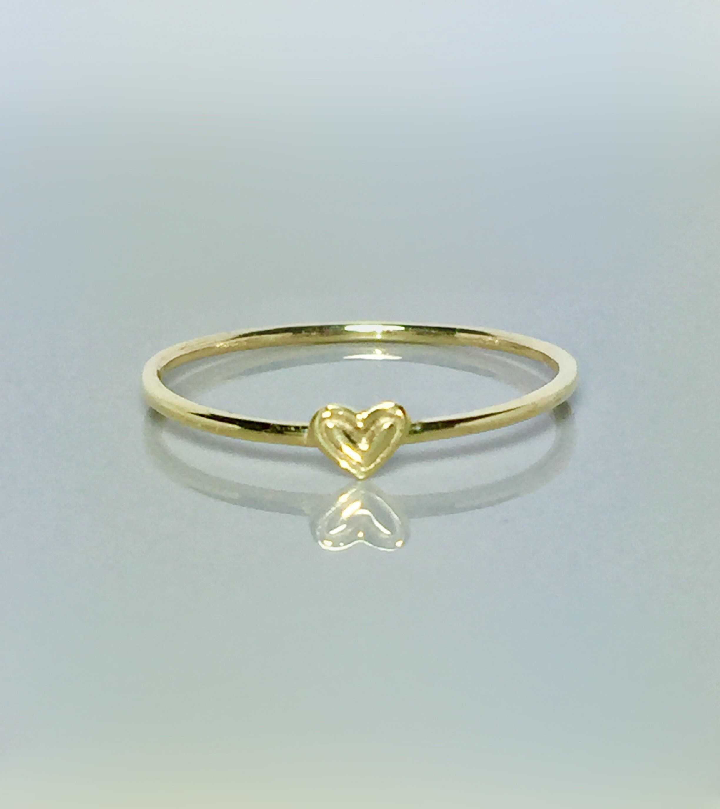 14k 10k Gold Heart Ring Rings For Girls Thin Gold Rings Simple Gold Rings Minimalist Rings Gold Heart Ring Etsy Gold Ring Sterling Silver Jewelry Rings