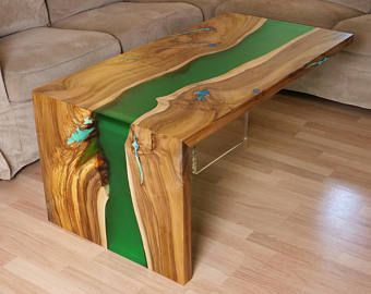Waterfall live edge river coffee table with plexiglass leg for Diy river table