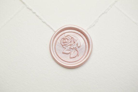 wedding rose wax seal flower wax seal stamp handmade invitation