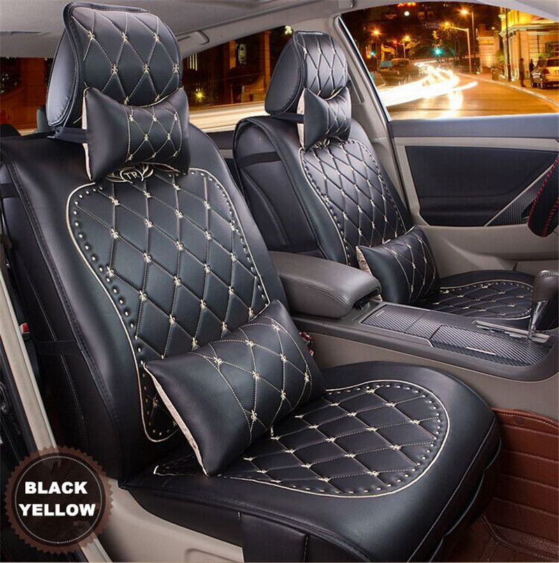 High Quality Luxury Danny Leather Car Seat Cover Universal Cute Covers Fashion Grid
