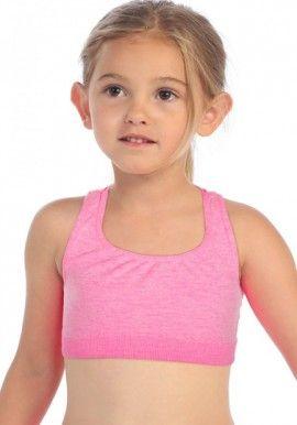 Bpc Kids Performance Baby Pink Sports Look Crop Top Pink Sports Girls Bra Training Bra