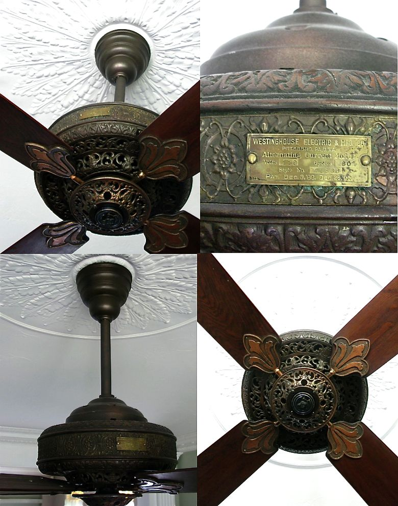Westinghouse DeLuxe AC Ceiling Fan  Circa 1910, American.