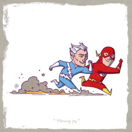 Superhero Friends created by Darren Rawlings - Quicksilver (Marvel) and Flash (DC)