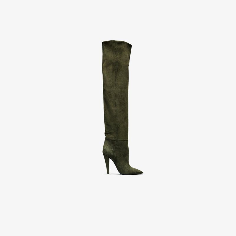 49b54907fd5 green Era 110 suede ruched knee boots from Saint Laurent.