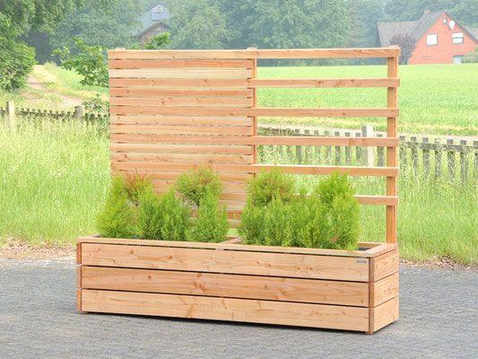 Pflanzkasten Holz lang mit Sichtschutz / Rankgitter