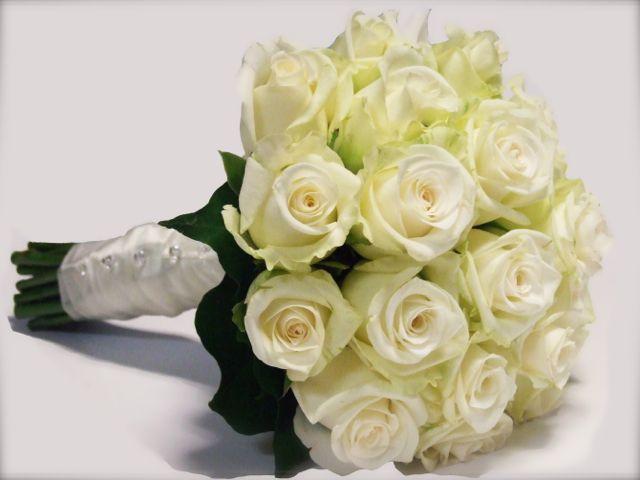 Classic hand held posy of White Icebreaker Roses bordered ...