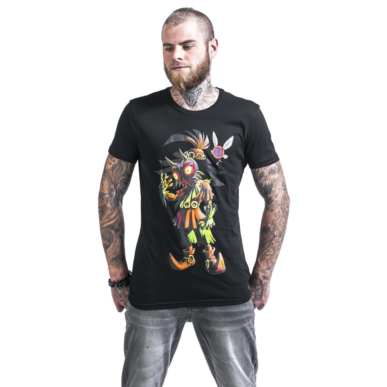 """Classica T-Shirt uomo nera """"Majoras Mask"""" di #Zelda con scollo tondo e stampa frontale."""