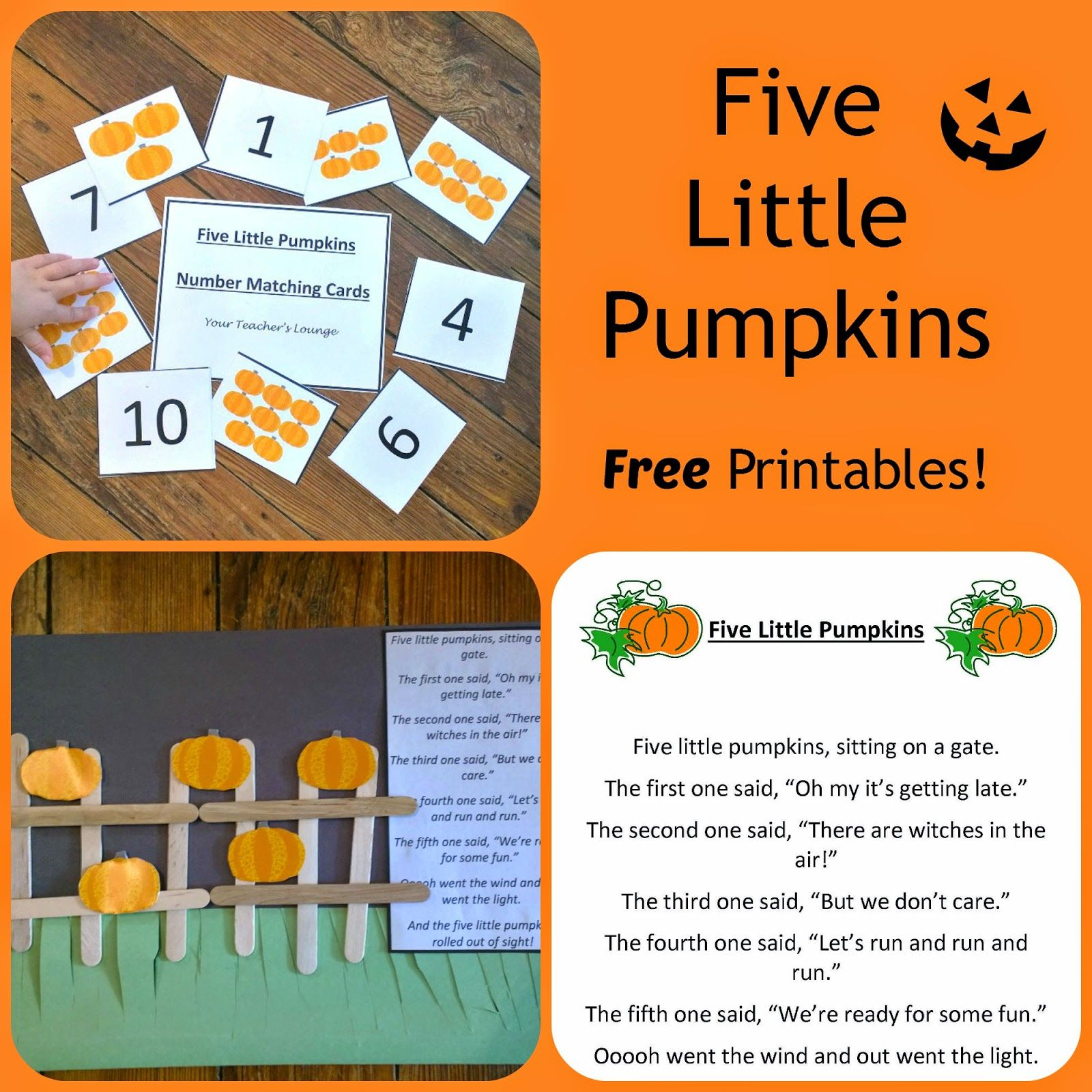 5 Little Pumpkins Poem Craft And Number Matching Cards Free Printables