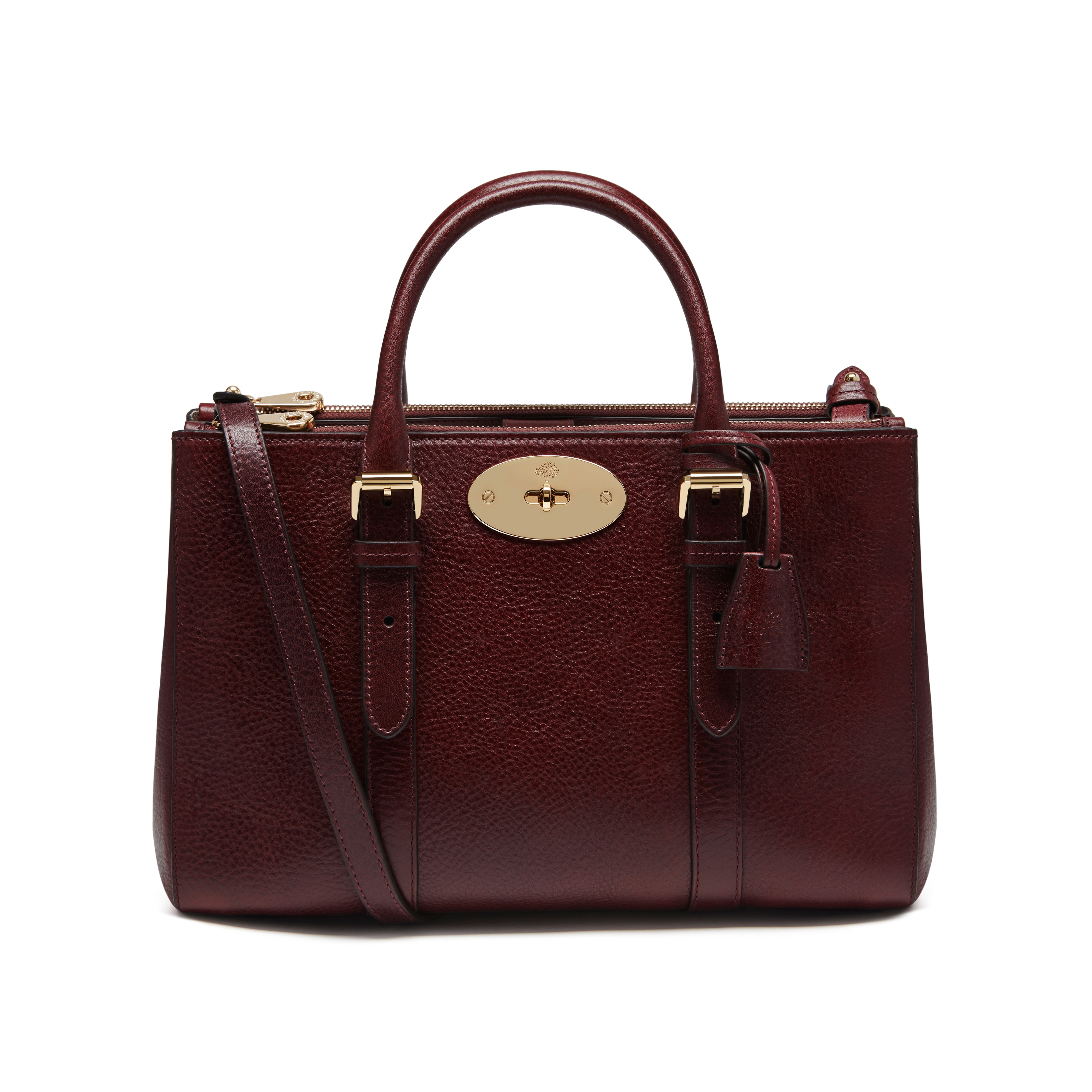 Mulberry Small Bayswater Double Zip Tote In Oxblood Coloured Natural Leather