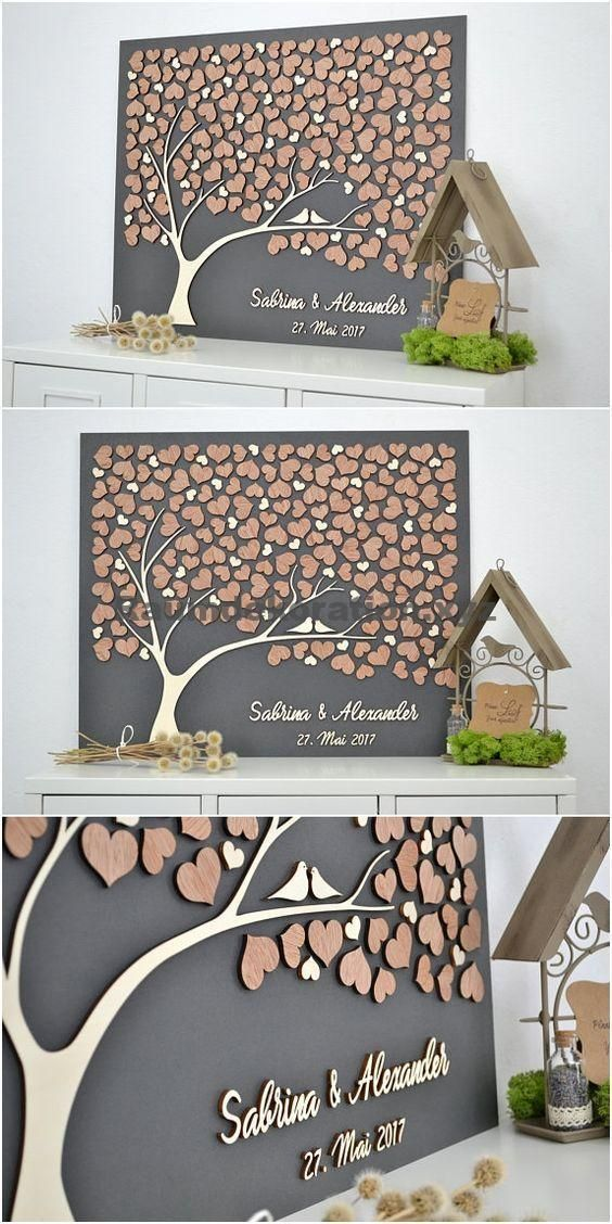 Tischdekoration Hochzeit - Baum der Freundschaft 3D Gold Buch der Hochzeit Baum Alternative Holz - Wohnaccessoires #holzdekoration