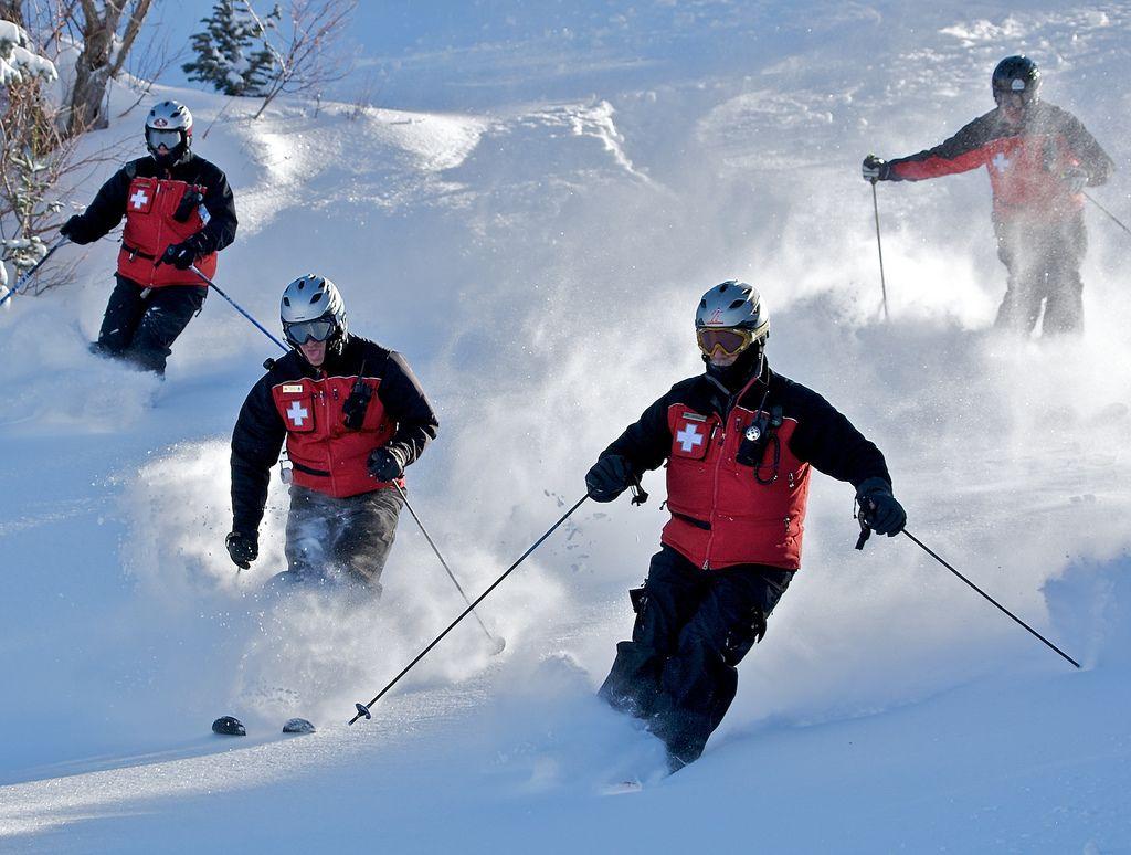 Ski Patrol In Action Snowboarding Skiing Backcountry Snowboarding