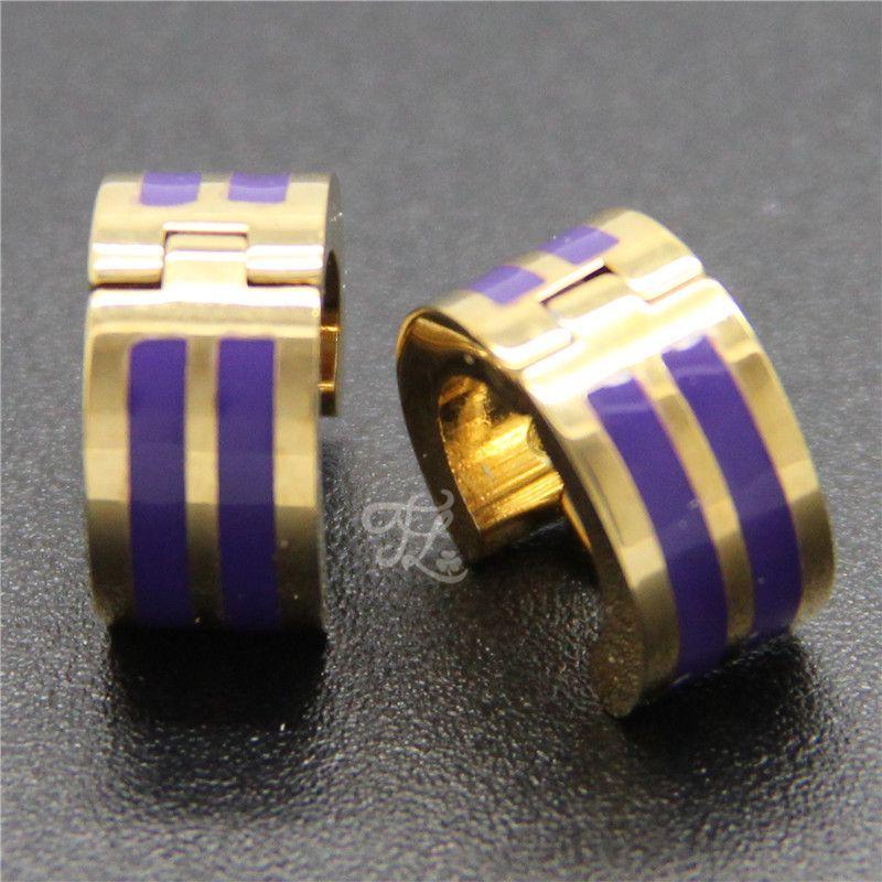 Wholesale Brand New Design Women Girl Stainless Steel Gold Plated Bright Colorful Stripe Huggie Hoop Earrings