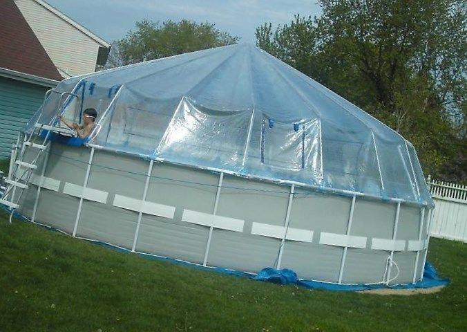 Solar swimming pool covers home outdoor entertaining for Greenhouse over swimming pool