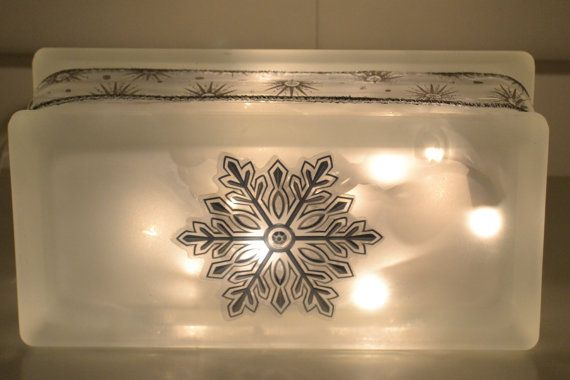 Snowflake Decorated Glass Block Light by WhiteRoosterShoppe