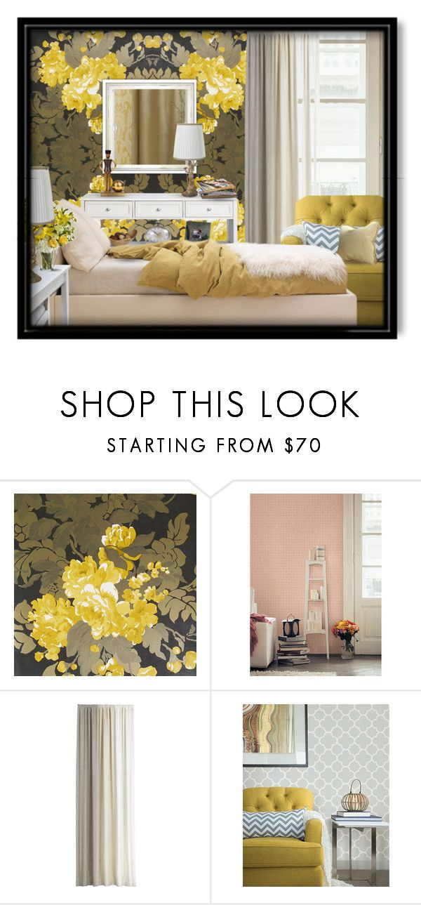 """""""yellow decor"""" by julissag ❤ liked on Polyvore featuring interior, interiors, interior design, home, home decor, interior decorating, Osborne & Little, Brewster Home Fashions, Pieces and Crate and Barrel"""