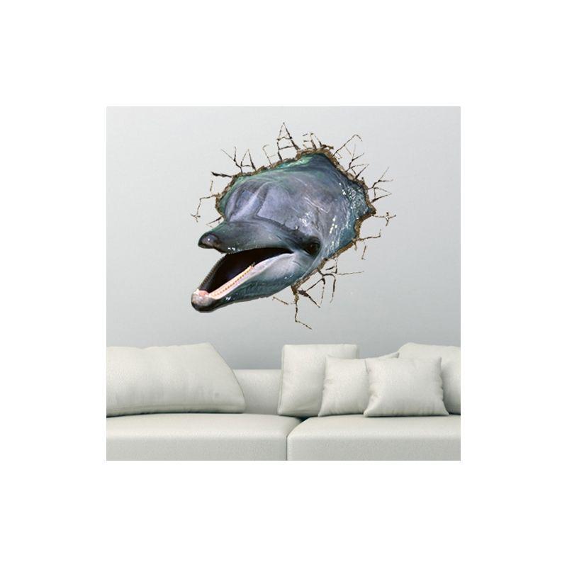 Art Mural - Stickers Muraux - 3D Sticker mural - Art mural Papier 3D Dauphin revêtements muraux PVC sticker lavables mur