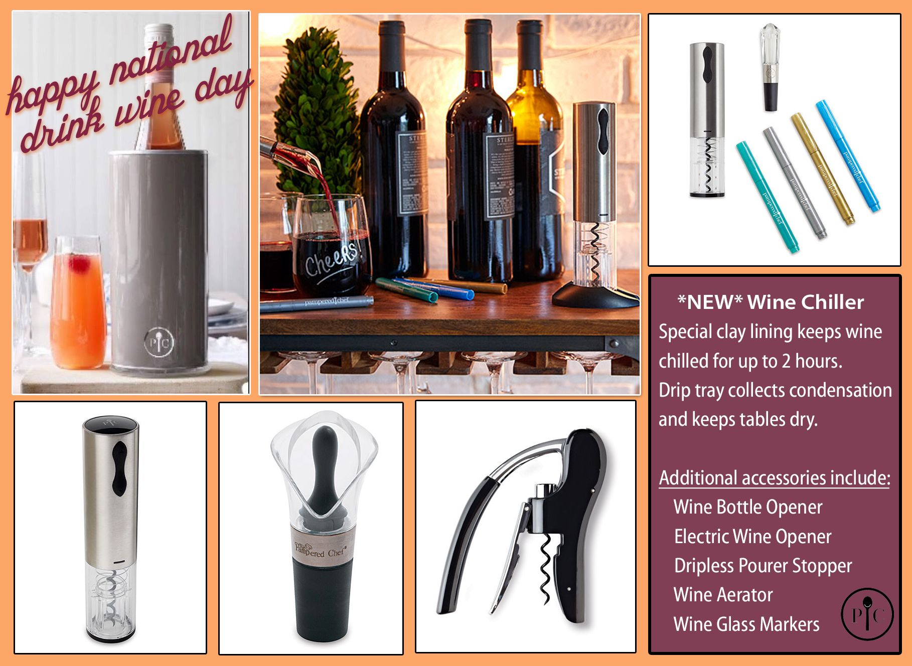 Wine accessories for kitchen - National Wine Day Pampered Chef Wine Accessories New Spring Product Wine Chiller