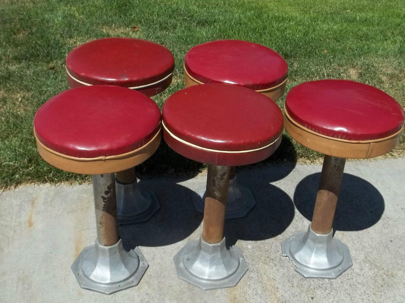 Astounding 1940S 1950S Soda Fountain Bar Stools Swivel Seat Cjindustries Chair Design For Home Cjindustriesco