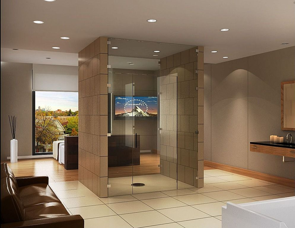 Cool open concept bathroommaster Soapstone Undermount