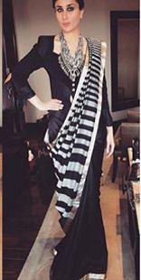 Black and grey striped handwoven sari