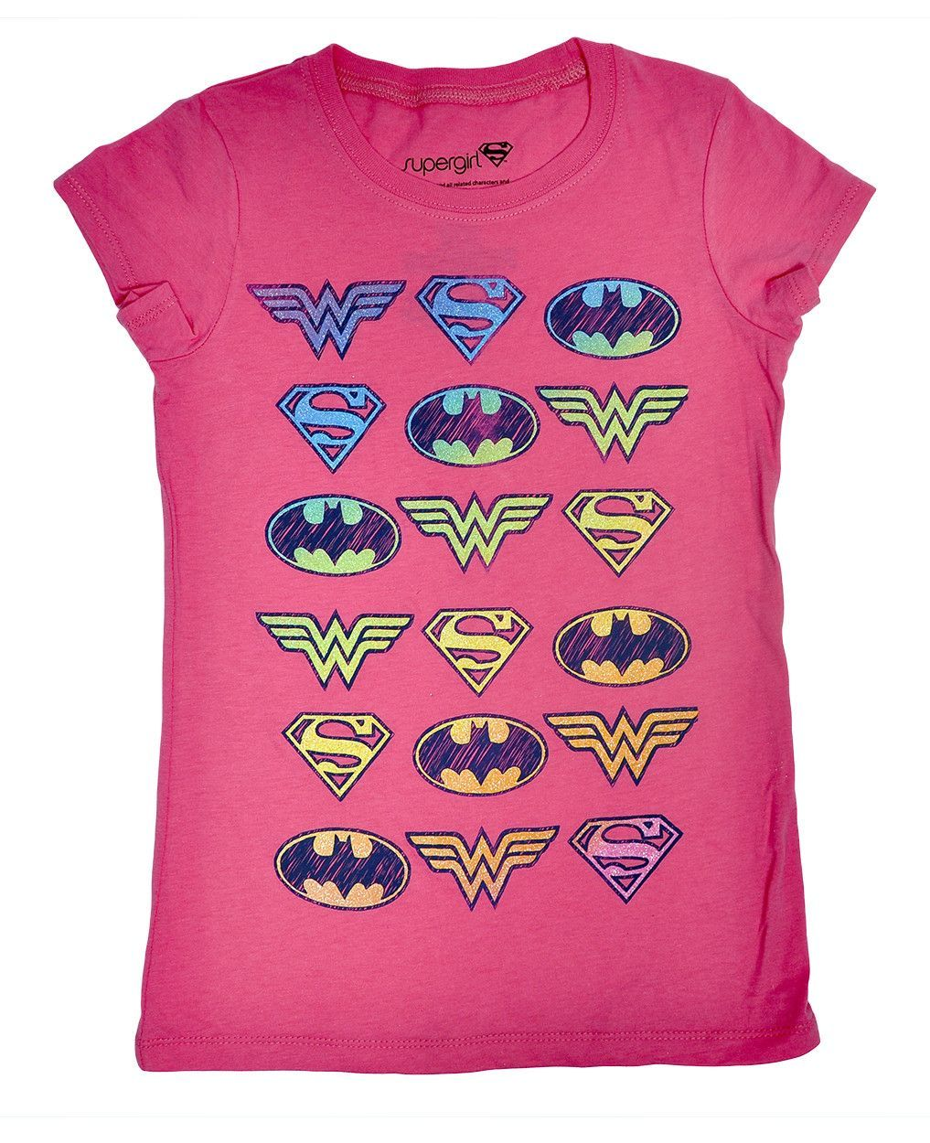babecc1b Pink Superhero Girls Tee - Featuring glittery logos Supergirl, Wonder Woman  and Batgirl graphic print on front. - 60% cotton, 40% polyester - soft and  ...