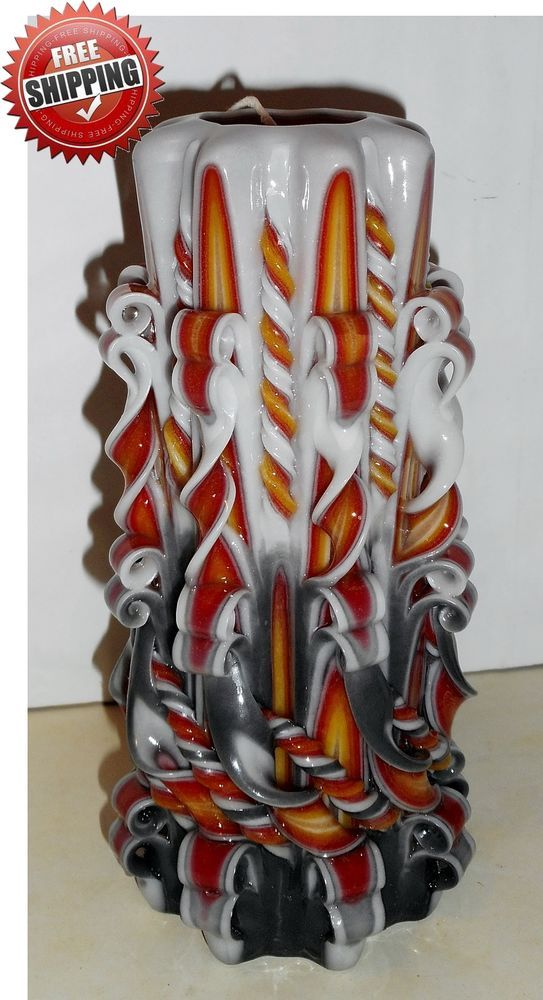 Unique handmade gift candle Hand Carved candles 8 inch/ 20cm FREE SHIPPING #Manelo