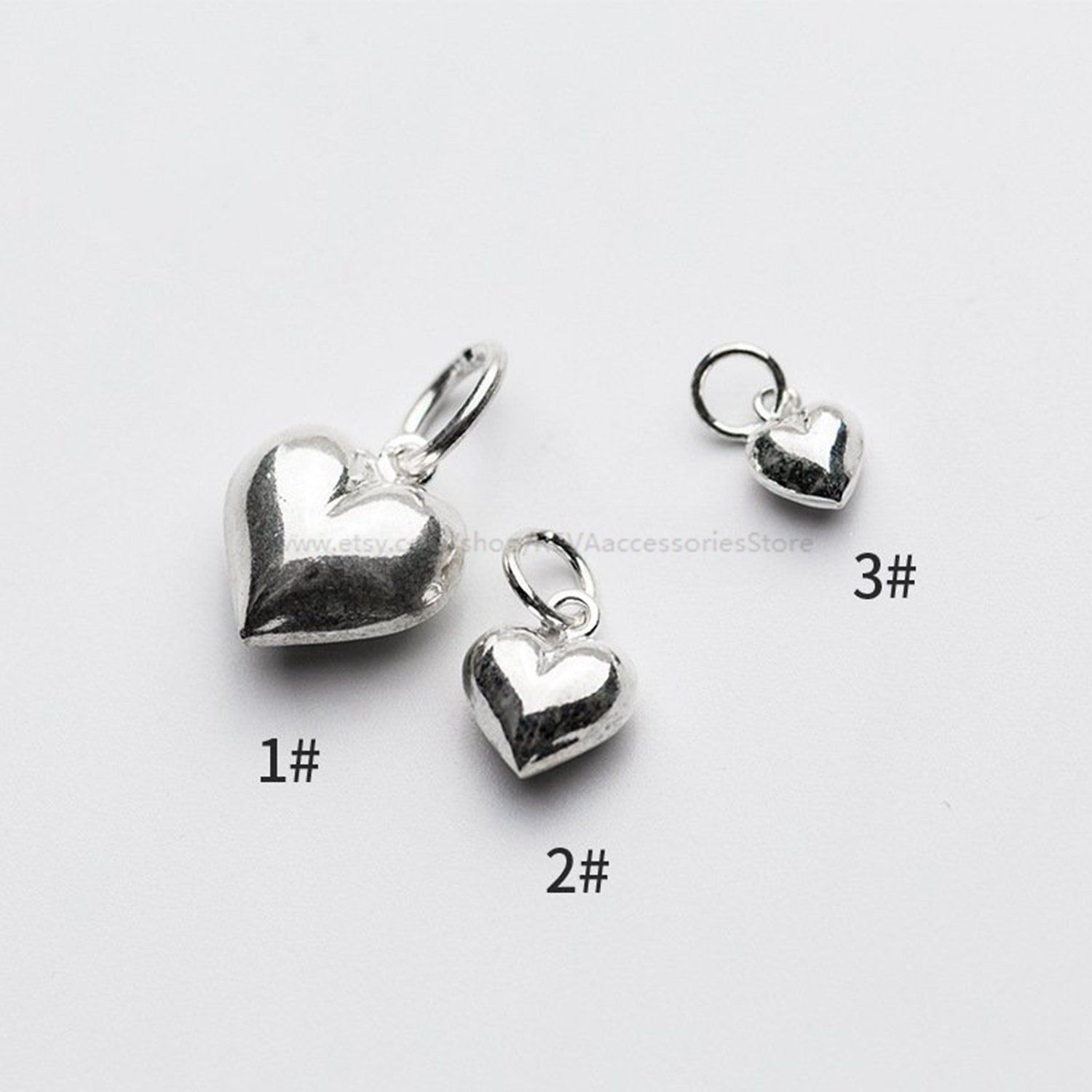 Bulk Charms Silver Heart Charms for Necklace and Bracelet