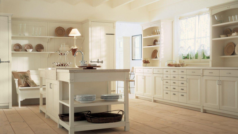 Cucina in legno collezione English Mood con isola, finitura Bianco ...