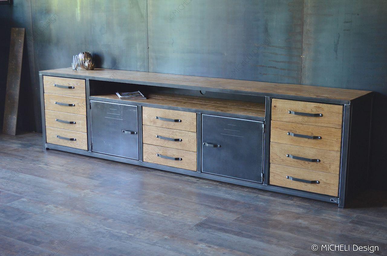 Meuble De Style Industriel Table Basse Meuble Tv Micheli Design Et