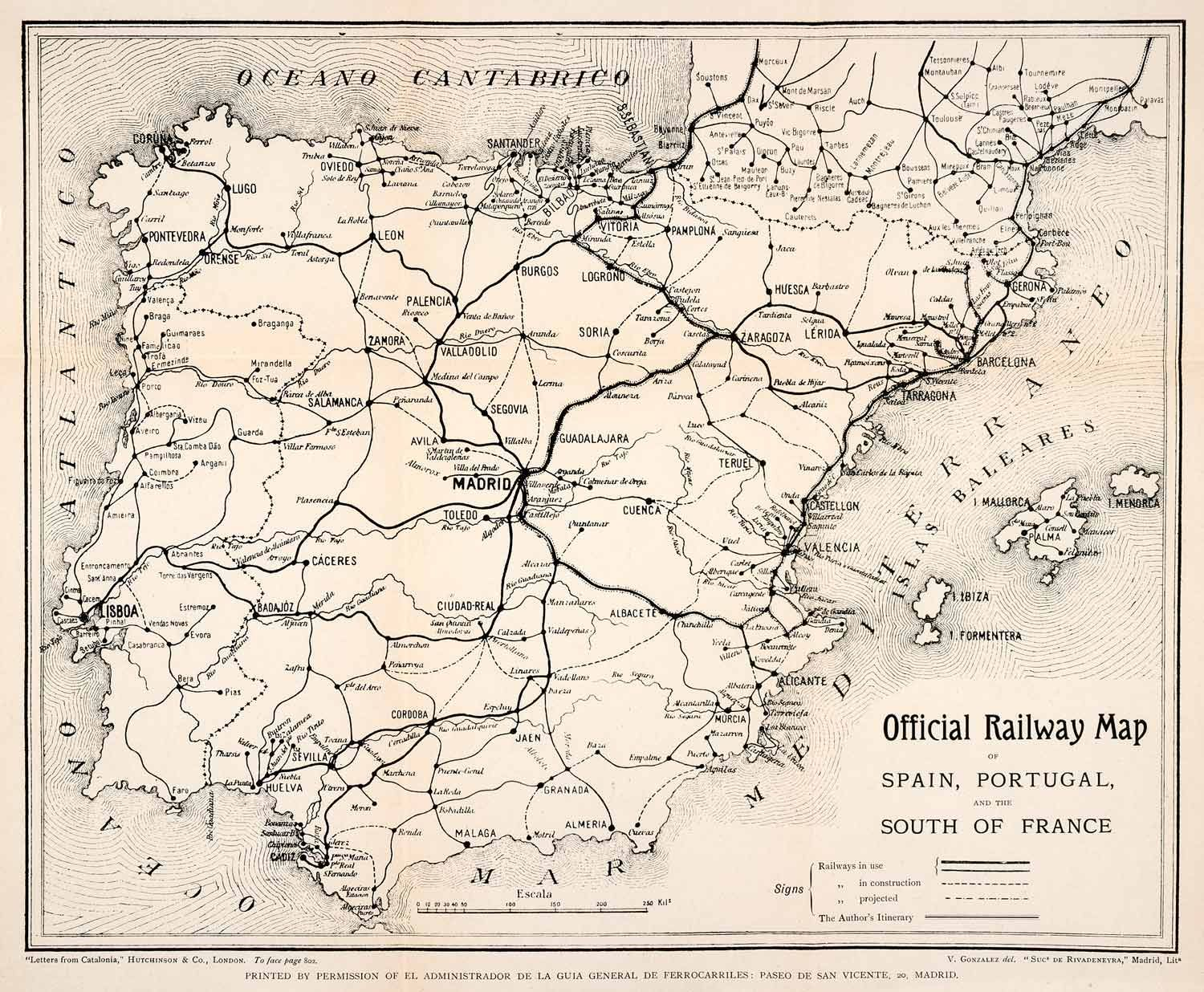 Official Railway Map of Spain, Portugal and South of