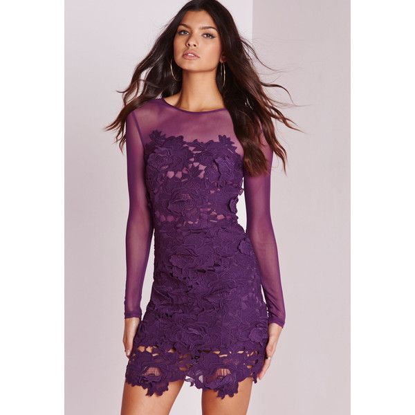 Missguided Floral Lace Mesh Bodycon Dress 77 Liked On