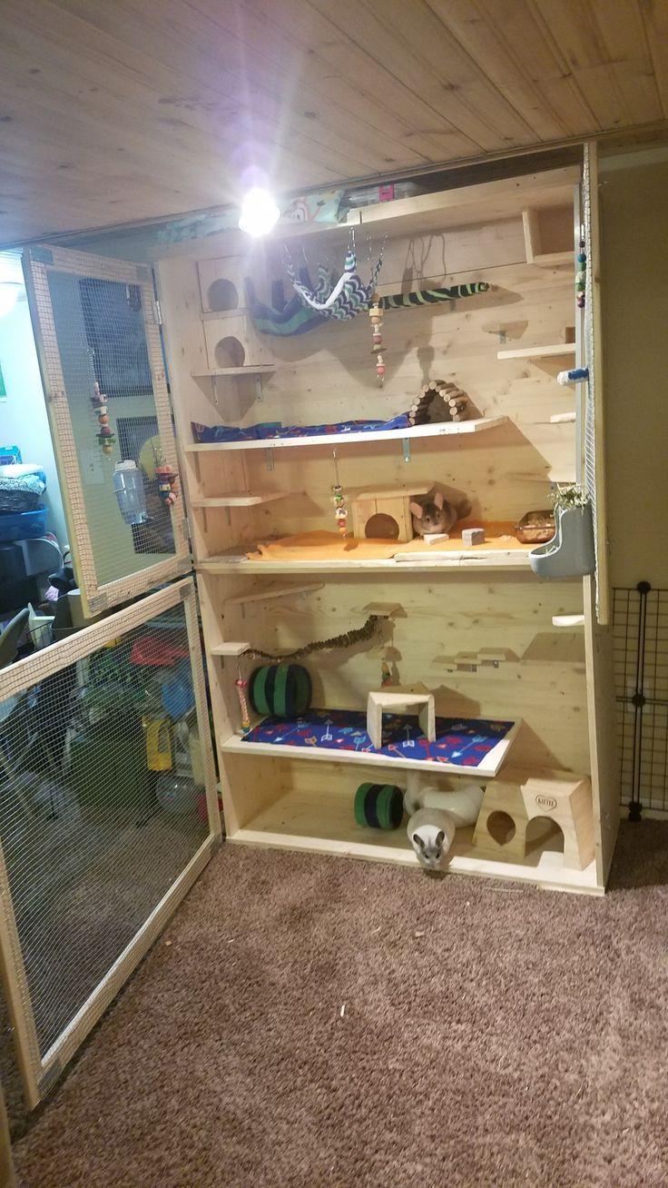 Homemade DIY Wooden Chinchilla Mansion | Chinchilla cage ...