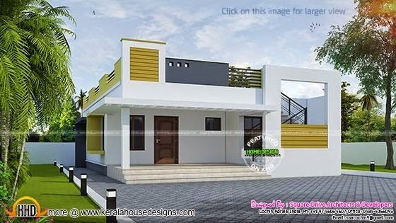 Marvelous One Storied Flat Roof House