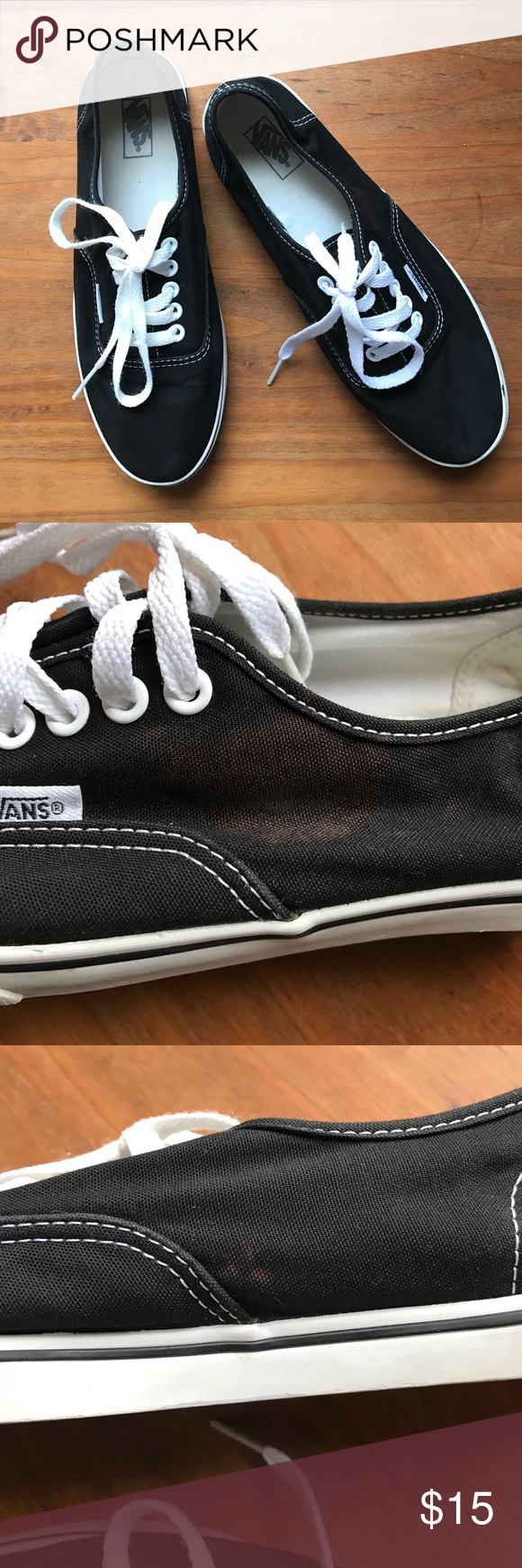 Vans black size 7 Small stains as seen above. The shoe has been very gently used. Vans Shoes Sneakers