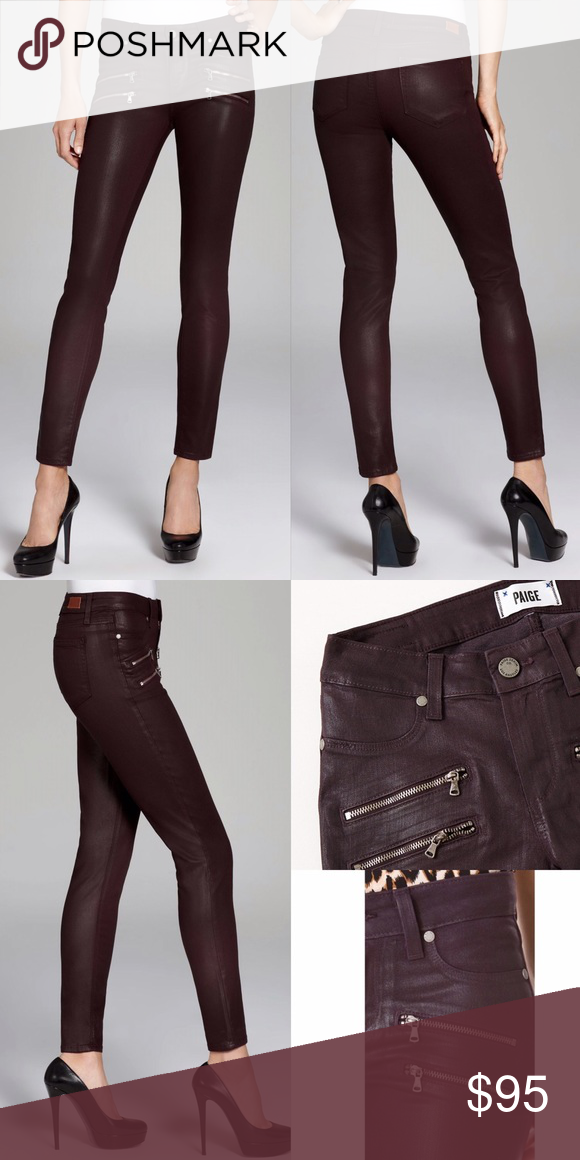 "PAIGE Edgemont Skinny jean- Black Silk coating 24 Paige jeans- color is ""Black Cherry Silk"" (coated dark purple). Adorned with double zippers, these coated pants are a slim, mid-rise ultra skinny that evoke edgy sophistication. Size 24, worn only a few times. Inseam: 30"". AMAZING ON 😍😍 NO TRADES!! Paige Jeans Jeans Skinny"