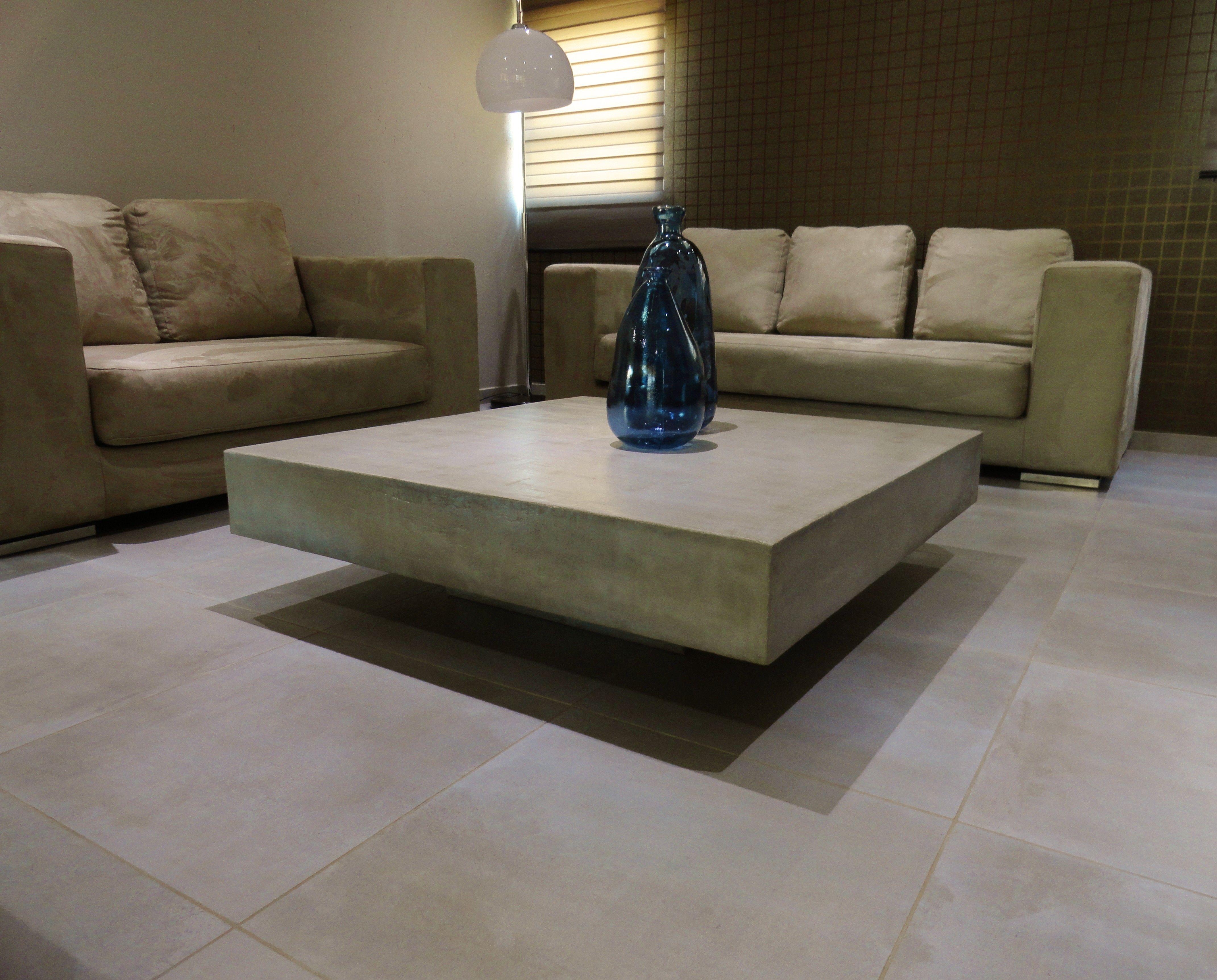 Light grey polished concrete coffee table | C U B E ...