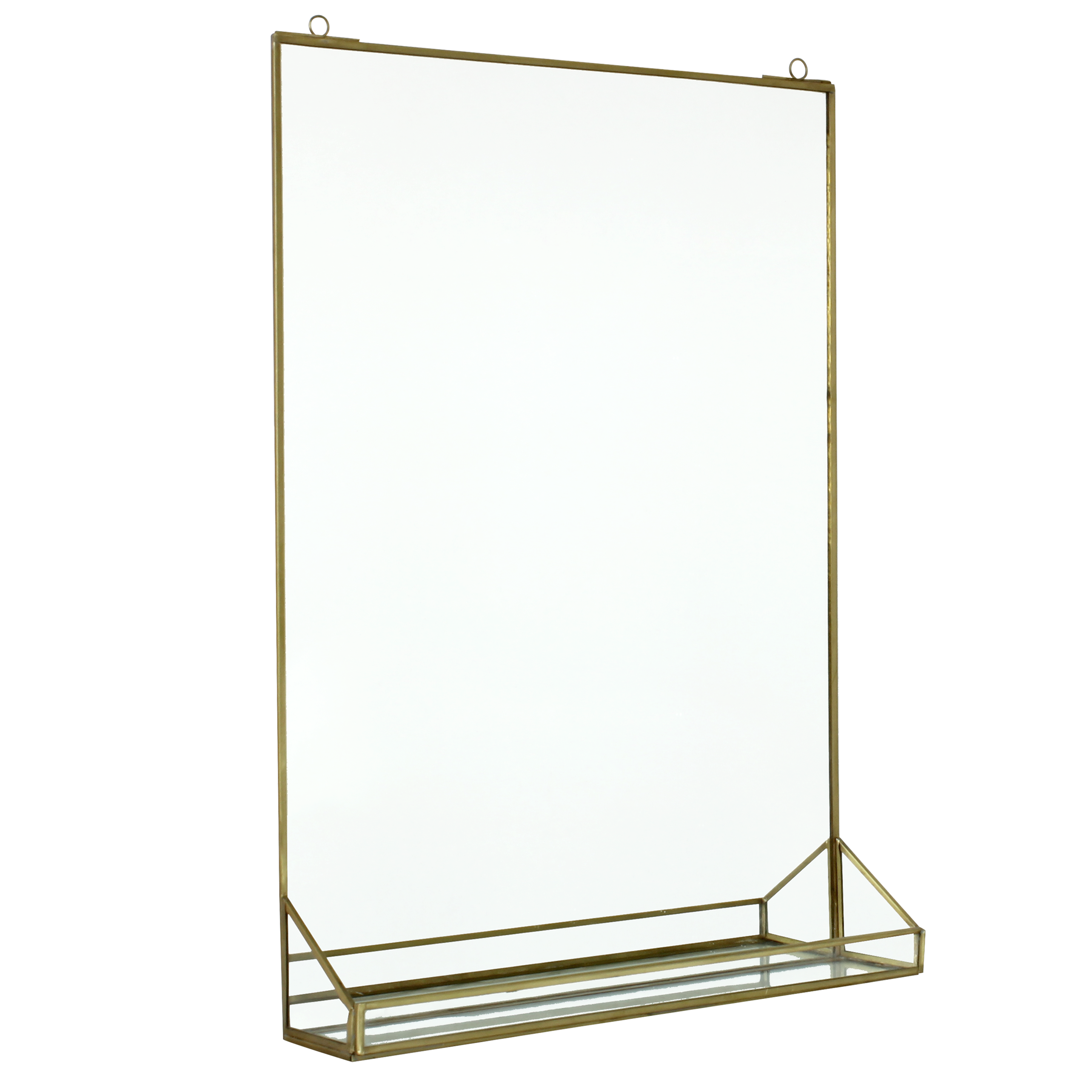 Kleiner Badspiegel Wandspiegel Wall Mirror Regal Messing Antik Brass Look Industrie