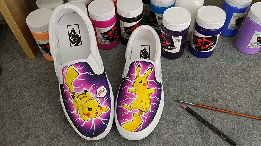 992c2d43255e93 Pokemon Vans Shoes Pikachu Vans Shoes Women Men Sneaker for Women Slipon Hand  Painted Shoes