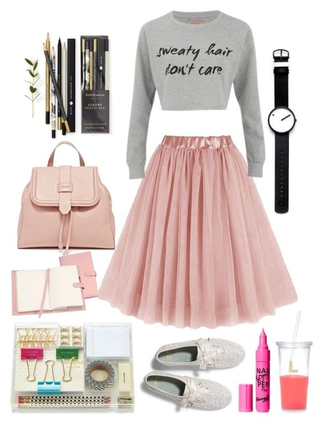 """""""Studying or Dating"""" by ayiarundhati ❤ liked on Polyvore featuring MINKPINK, Rosendahl, Katie Leamon, Royce Leather, Barry M, Kate Spade and Keds"""