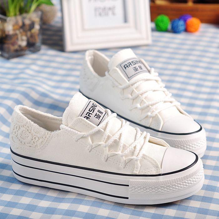 Dalliy - Cordones de zapatos de Lona mujer Blanco C v8Cphao