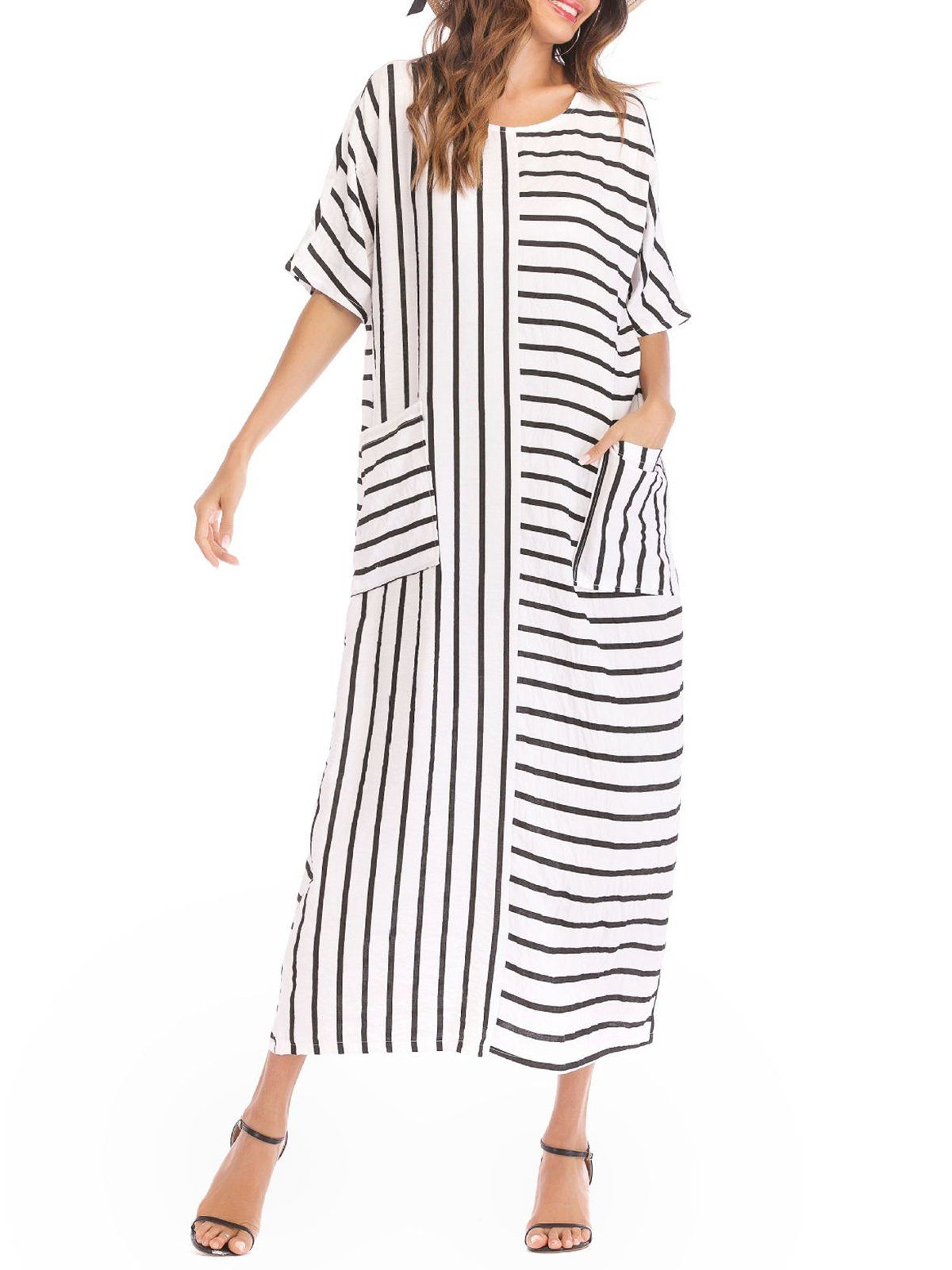 7daa9664cd White Striped Casual Pockets Plus Size Linen Dress in 2019