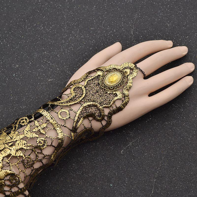 Ladies Steampunk Goth Gold Lace Floral Finger Bracelet