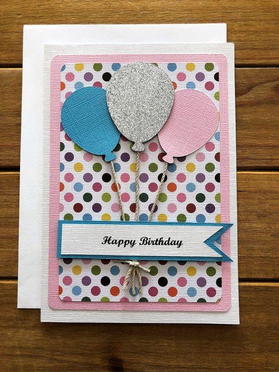 Handmade Balloon Birthday Card Balloon Card Birthday Card Card For Her Pretty Birthday Card Girl Birthday Card Birthday Card For Her In 2020 Card Making Birthday Girl Birthday Cards Birthday Card Craft