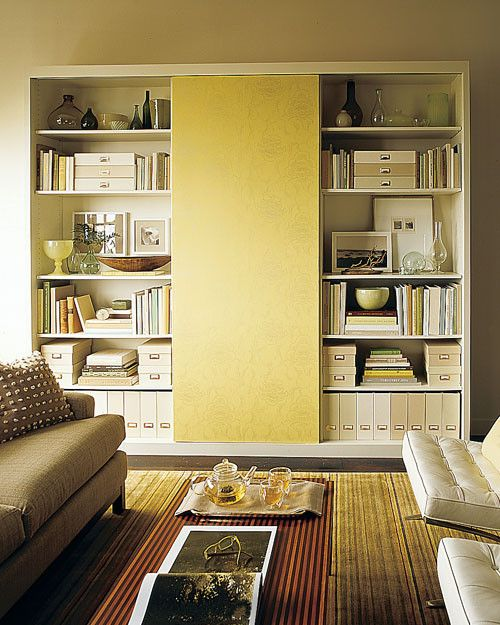 This Wallpapered Sliding Door Cleverly Hides A Shelving Unit Fit With A  Home Office. When. Furniture For Small ...