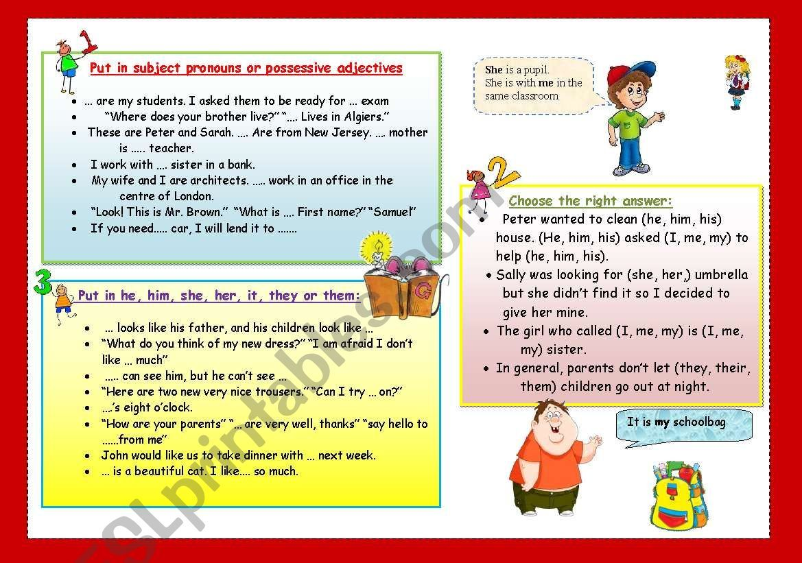 Pronouns Worksheet In