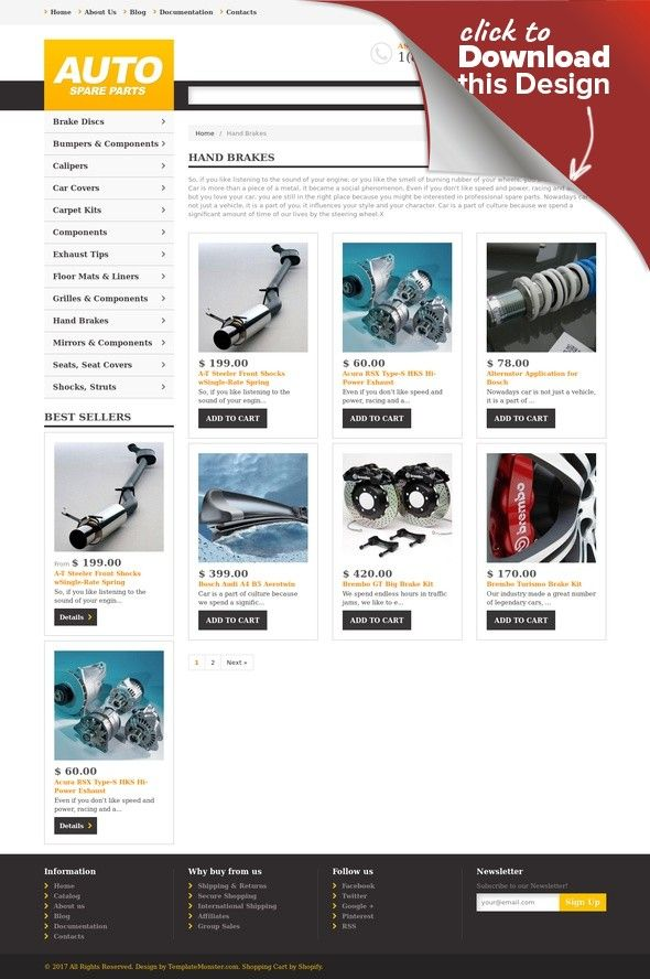 Auto Parts Responsive Shopify Theme Template - Shopify page templates