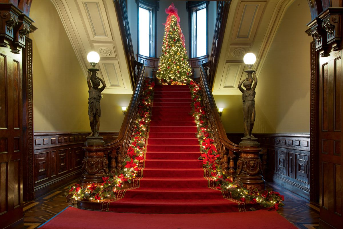 christmas decorations at the lockwood mathews mansion norwalk ct