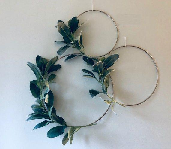 Photo of Metal hoop wreath simplistic shabby chic green lamb earrings succulent gold or brass simple wedding baby nursery rustic