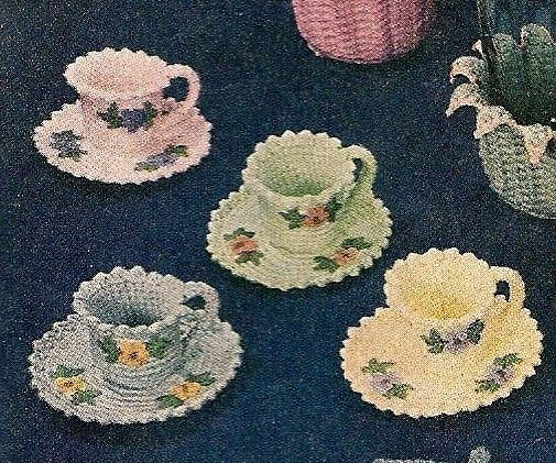 Tea Cups And Saucers Instant Download Digital File Vintage